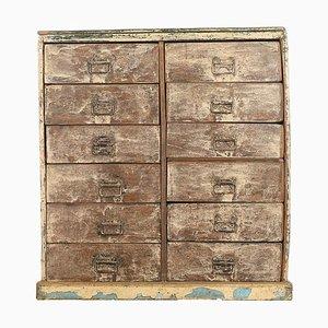 Patinierte Vintage Kommode aus Holz mit 12 Schubladen