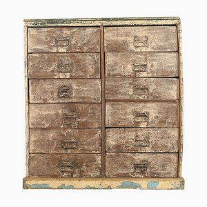 Vintage Patinated Wooden 12-Drawer Chest