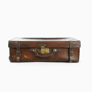 Vintage English Leather Suitcase