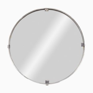 Round Mirror in Brushed Stainless Steel, 1970s