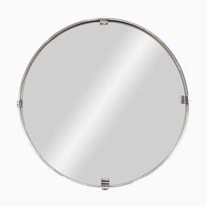 Runder Spiegel aus Gebürstetem Edelstahl, 1970er
