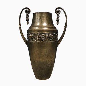 Französische Messing Vase mit Blumenmotiv