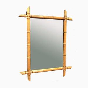 Großer Französischer Spiegel in Bambus Optik, 1900er