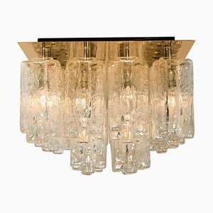 Glass and Brass Flush Mount Granada by J.T. Kalmar, Austria, 1960s