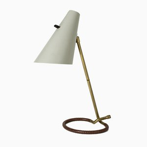 Brass and Leather Table Lamp by Hans Bergström for Ateljé Lyktan, 1950s