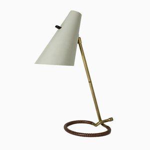 Messing und Leder Tischlampe von Hans Bergström für Ateljé Lyktan, 1950er