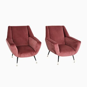 Vintage Italian Armchairs in Coral, 1950s, Set of 2
