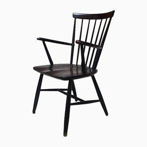 Schwarz lackierter Vintage Windsor Chair aus Holz von Lucian Ercolani für Ercol, 1970er