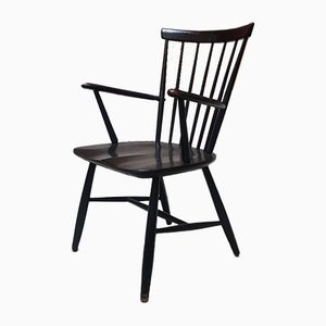 Vintage Black Lacquered Wood Windsor Chair by Lucian Ercolani for Ercol, 1970s