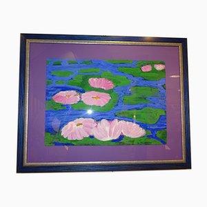 Mid-Century Seerosen Acryl Gemälde von Jo Stempfel