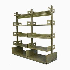 Industrial Double Sided Archive Shelf, 1940s