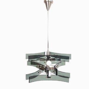 Lámpara colgante con cinta de vidrio de Max Ingrand para Fontana Arte, años 60