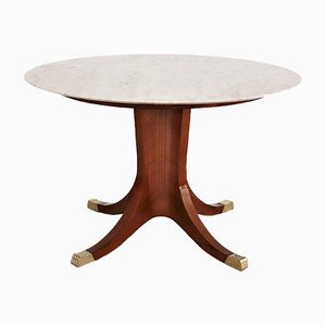 Vintage Italian Rosewood Veneer, Pink Marble & Brass Feet Dining Table, 1950s