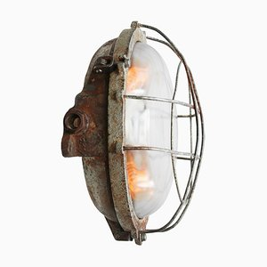 Vintage Industrial Round Gray Cast Iron and Clear Glass Sconce