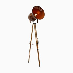 Vintage Industrial Metal and Wood Tripod Spot Floor Lamp