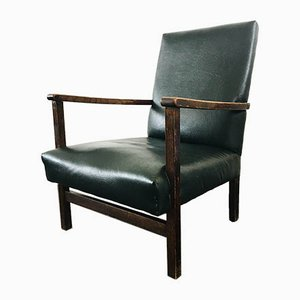Vintage Green Leather Armchair from A.M. Furniture, 1940s