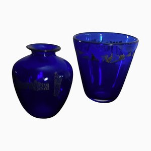 Blue Glass with Silver Decoration Vases by Finn Lynggaard, 1980s, Set of 2