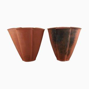 Grands Vases en Faïence Non Vitrifiés par Svend Hammershøi pour Kähler, 1930s, Set de 2