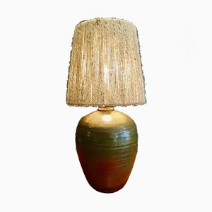 Glazed Stoneware and Rope Table Lamp, 1970s