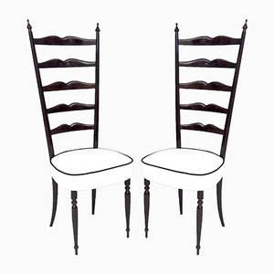Italian Ebonized Beech and White Upholstery Chiavarine Chairs, 1950s, Set of 2