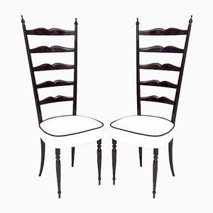 Italienische Ebonisierte Buche und Chiavarine Stühle in Weiß, 1950er, 2er Set