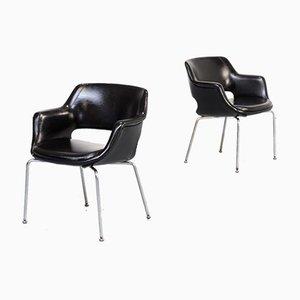 Mid-Century Black Leather Kilta Armchairs by Olli Mannermaa for Eugen Schmidt, 1960s, Set of 2