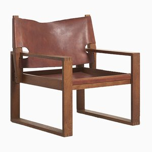 Mid-Century Danish Oak Sled Chair by Svend Frandsen for Hugo Frandsen, 1960s