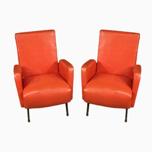Italian Armchairs in Red Faux Leather, 1970s, Set of 2