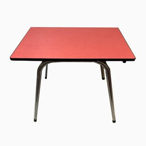 Red Formica Dining Table with Tapered Legs, 1950s