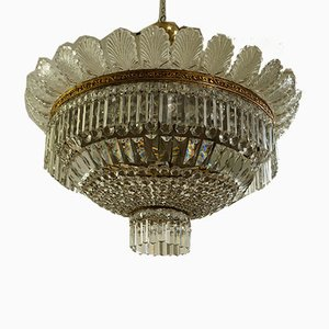 Empire Style Crystal Hot Air Balloon Ceiling Lamps, 1940s, Set of 2