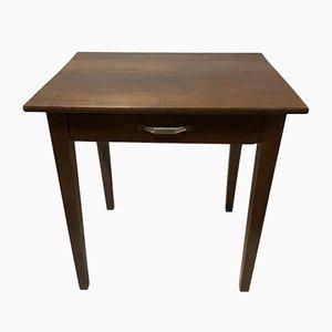 Rustikaler antiker Walnuss Tisch mit 1 Schublade