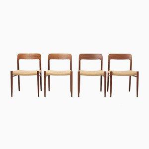Mid-Century Esszimmerstühle aus Papierkordel von Niels Otto Møller für JL Møllers Møbelfabrik, 1950er, 4er Set