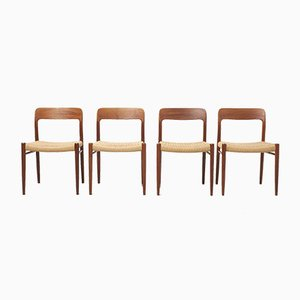 Mid-Century Paper Cord Dining Chairs by Niels Otto Møller for J.L. Møllers Møbelfabrik, 1950s, Set of 4