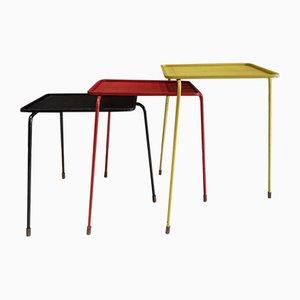 Tables Gigognes Modèle Soumba par Mathieu Matégot, 1950s, Set de 3