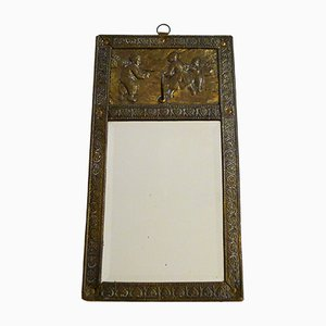Small Antique Beveled Entrance Mirror with Embossed Metal Frame