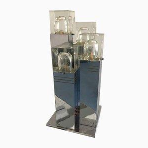 Lámpara de mesa italiana de cristal de Murano claro y cromo de Gaetano Sciolari para Sciolari, años 70