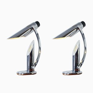 Chrome Tharsis Foldable Table Lamps by Luis Perez de la Oliva for Fase, 1973, Set of 2