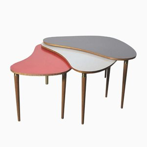Kidney-Shaped Coffee Tables, 1950s, Set of 3