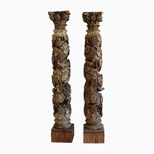 Columnas antiguas de barroco de madera, década de 1730. Juego de 2