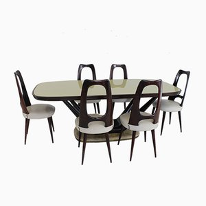Italian Dining Chairs & Table by Vittorio Dassi for Dassi, 1950s, Set of 7