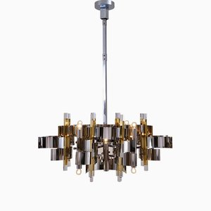 Italian Brass, Chrome and Lucite Model Futura Chandelier by Gaetano Sciolari for Sciolari, 1970s