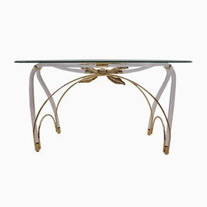 American Lucite, Gold Plated and Glass Console Table in the Style of Jeff Messerschmidt, 1970s