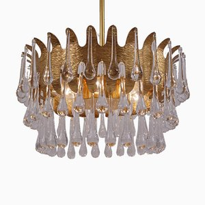 German Gilt Brass and Crystal Chandelier by Ernst Palme for Palwa, 1960s
