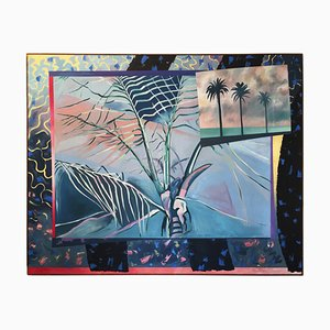 Hollywood Regency Style Palms Parade Oil Painting by Richard Frank, 1980s
