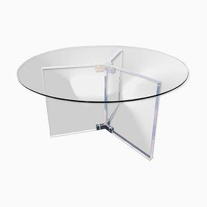 Großer Esstisch aus Plexiglas und rundem Glas, 1990er