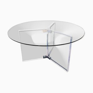 Large Lucite and Round Glass Dining Table, 1990s