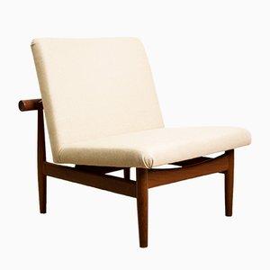 Danish Teak, Brass, and Fabric Model 137 Lounge Chairs by Finn Juhl for France & Søn / France & Daverkosen, 1950s, Set of 2