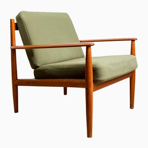 Danish Teak and Fabric Model 128 Lounge Chairs by Grete Jalk for France & Søn / France & Daverkosen, 1960s, Set of 2