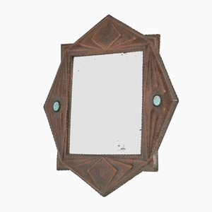 Art Deco Brass Wall Mirror, 1920s