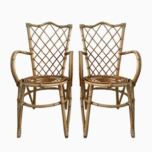 Rattan Armchairs by Louis Sognot, 1950s, Set of 2